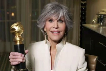 Jane Fonda, winner of Cecil B. deMille Award speaks during the 78th Annual Golden Globe Virtual General Press Room on February 28, 2021. (Photo by Handout/HFPA via Getty Images)