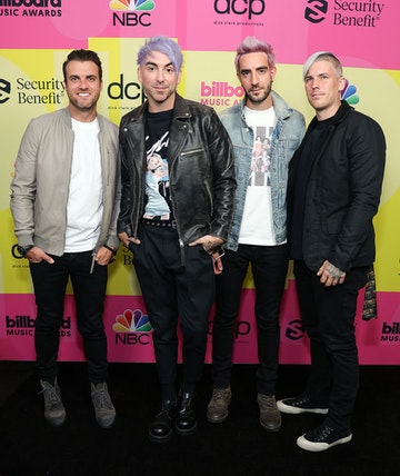 Rian Dawson, Alex Gaskarth, Jack Barakat, and Zack Merrick of All Time Low pose backstage for the 2021 Billboard Music Awards, broadcast on May 23, 2021 at Microsoft Theater in Los Angeles, California. (Photo by Rich Fury/Getty Images for dcp)