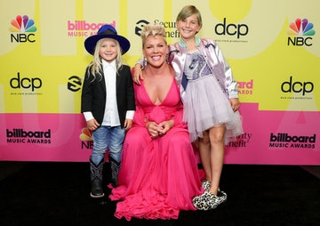 Jameson Moon Hart, P!nk, and Willow Sage Hart pose backstage for the 2021 Billboard Music Awards, broadcast on May 23, 2021 at Microsoft Theater in Los Angeles, California. (Photo by Rich Fury/Getty Images for dcp)