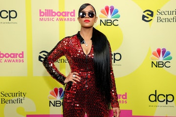 H.E.R. poses backstage for the 2021 Billboard Music Awards, broadcast on May 23, 2021 at Microsoft Theater in Los Angeles, California. (Photo by Rich Fury/Getty Images for dcp)