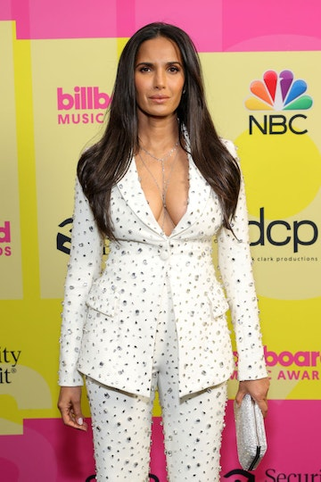 Padma Lakshmi poses backstage for the 2021 Billboard Music Awards, broadcast on May 23, 2021 at Microsoft Theater in Los Angeles, California. (Photo by Rich Fury/Getty Images for dcp)