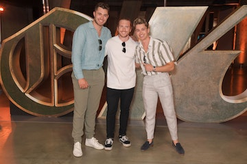 """Curtis Pritchard, James Walker and AJ Pritchard attend a special preview screening of Marvel Studios """"Loki"""" presented by Disney+ on June 8, 2021 in London, England. (Photo by David M. Benett/Dave Benett/WireImage)"""